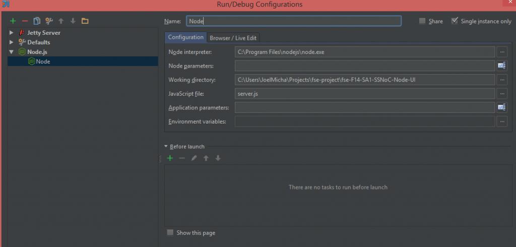 Configuring node.js